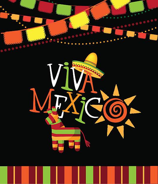 Viva Mexiko handgezeichnet Art Design. – Vektorgrafik