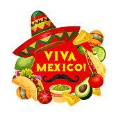 Cinco de Mayo Mexican holiday poster, viva Mexico celebration fiesta quote. Vector Cinco de Mayo sombrero with mustaches, maracas and traditional food avocado guacamole, tomato salsa and burrito