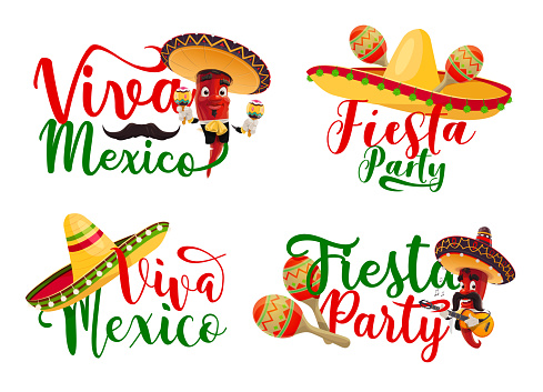 Viva Mexico icons set with Mexican chilli mariachi