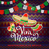 Celebrate Independence Day in Mexico with sombrero, maracas, papel picado, cactus and peppers on the folk art pattern for the fiesta