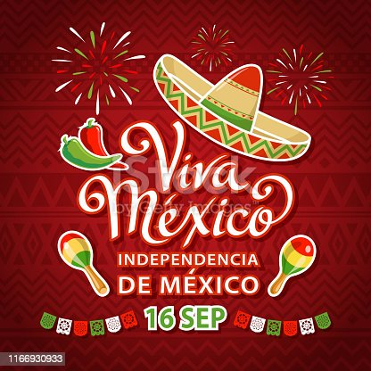 Celebrate Independence Day in Mexico with with sombrero, maracas, peppers, papel picado and fireworks on the red folk art pattern on September 16 for the fiesta