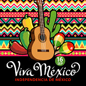 Celebrate Independence Day in Mexico with guitar, maracas, papel picado, cactus and peppers on the folk art pattern for the fiesta