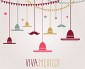 Viva Mexico. Independence Day. Hanging colorful sombrero and mustache. Vector illustration. All elements are separate. Easily modifying. No mesh. EPS10