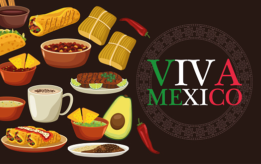 viva mexico lettering and mexican food poster with bundle menu