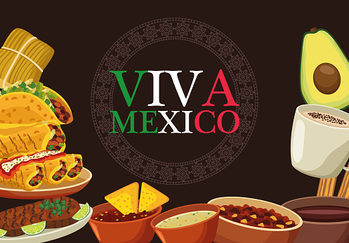 viva mexico lettering and mexican food poster with flag colors