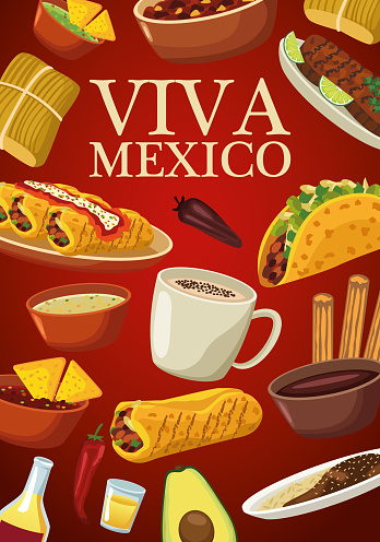 viva mexico lettering and mexican food poster with menu in red background
