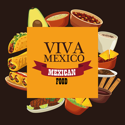 viva mexico lettering and mexican food poster with menu in square frame