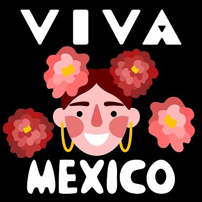 Viva Mexico lettering with happy woman and flowers vector illustration
