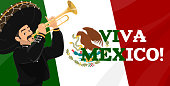 istock Viva Mexico. Mexican flag, coat of arms, mariachi 1280709623
