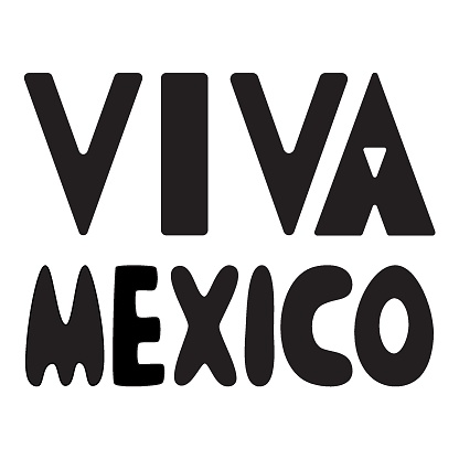 Viva Mexico simple lettering black and white vector illustration
