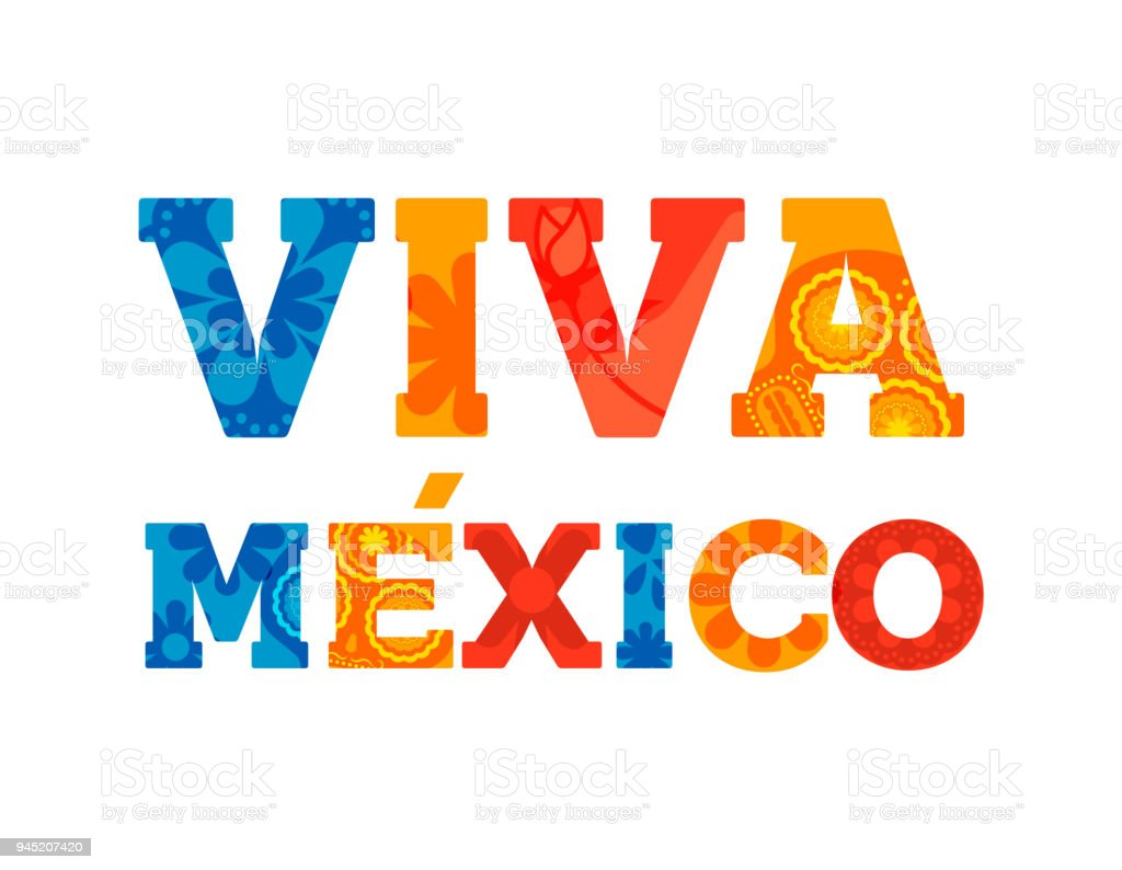 Viva Mexico Text Quote Card For Mexican Holiday Stock Vector Art