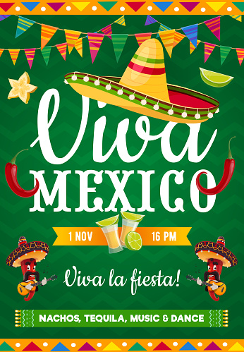 Viva Mexico vector poster, live music party flyer