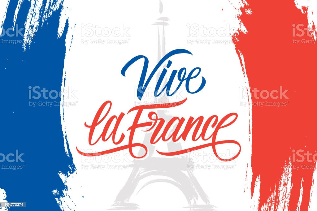 Vive la France brush stroke banner in colors of the national flag of France with Eiffel tower and handwritten inscription for French National Day, July 14, Bastille Day. vector art illustration