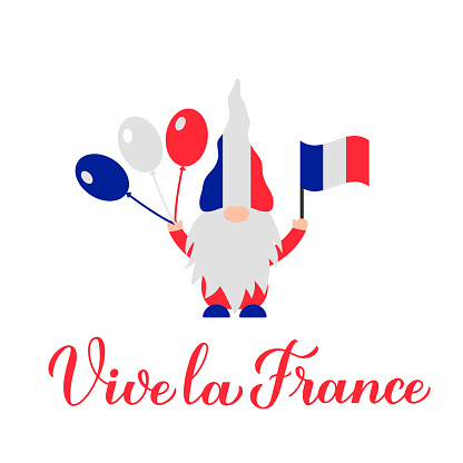 Vive la France calligraphy hand lettering and cute gnome holding flag. Long Live France in French. Vector template for typography poster, banner, flyer, sticker, t-shirt, postcard, logo design