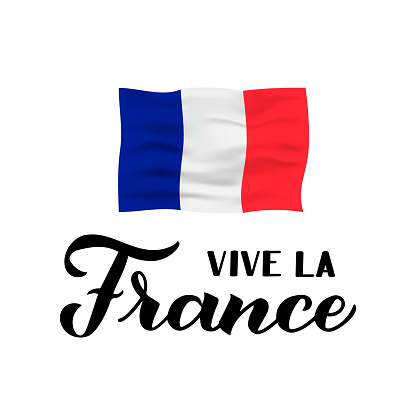 Vive la France calligraphy hand lettering isolated on white background. Long Live France in French. Vector template for typography poster, banner, flyer, sticker, t-shirt, postcard, logo design, etc.