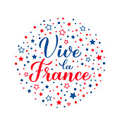 Vive la France calligraphy hand lettering with red and blue dots and stars. Long Live France in French. Vector template for typography poster, banner, flyer, postcard, logo design, etc.