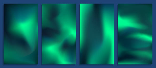 illustrazioni stock, clip art, cartoni animati e icone di tendenza di vivid blurred holographic gradient backgrounds, vector colorful posters - aurora boreale