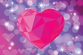 Vivid bokeh with big crystal heart. Background with highlights. vector