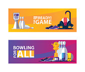 Vivid bowling banners with objects for play, pins and balls. Vector set for player or club.