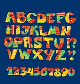vivid childish style ABC set. geometry textures funny fontface f