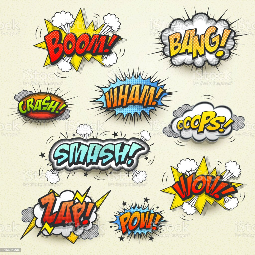 vivid colorful comic sound effects set vector art illustration