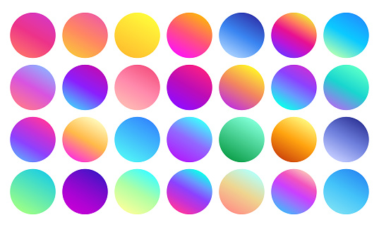 Vivid gradient spheres. Minimalist multicolor circles, abstract 80s vibrant colors and modern gradients sphere isolated vector set