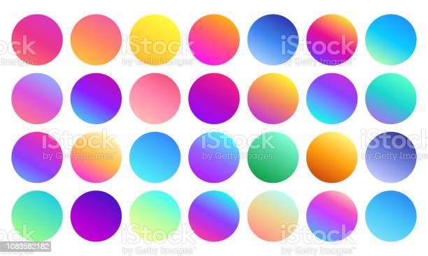 Vivid Gradient Spheres Minimalist Multicolor Circles Abstract 80s Vibrant Colors And Modern Gradients Sphere Isolated Vector Set - Arte vetorial de stock e mais imagens de 1980-1989