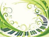 A fresh green decorative background.