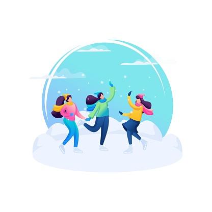 Vivid illustration. Girls friends ice skating, fun weekend, winter fun. 2D Characters