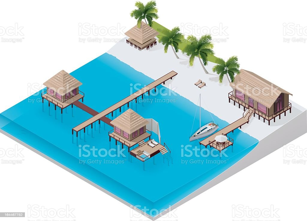 Vivid illustration of an isometric tropical resort