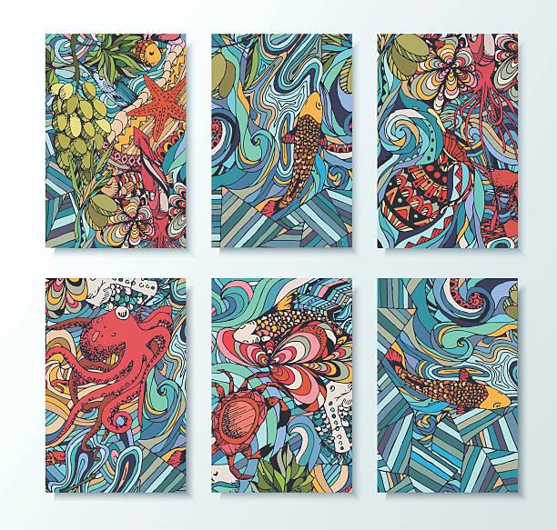 illustrazioni stock, clip art, cartoni animati e icone di tendenza di vivid illustration of marine animals - sfondo scarabocchi e fatti a mano