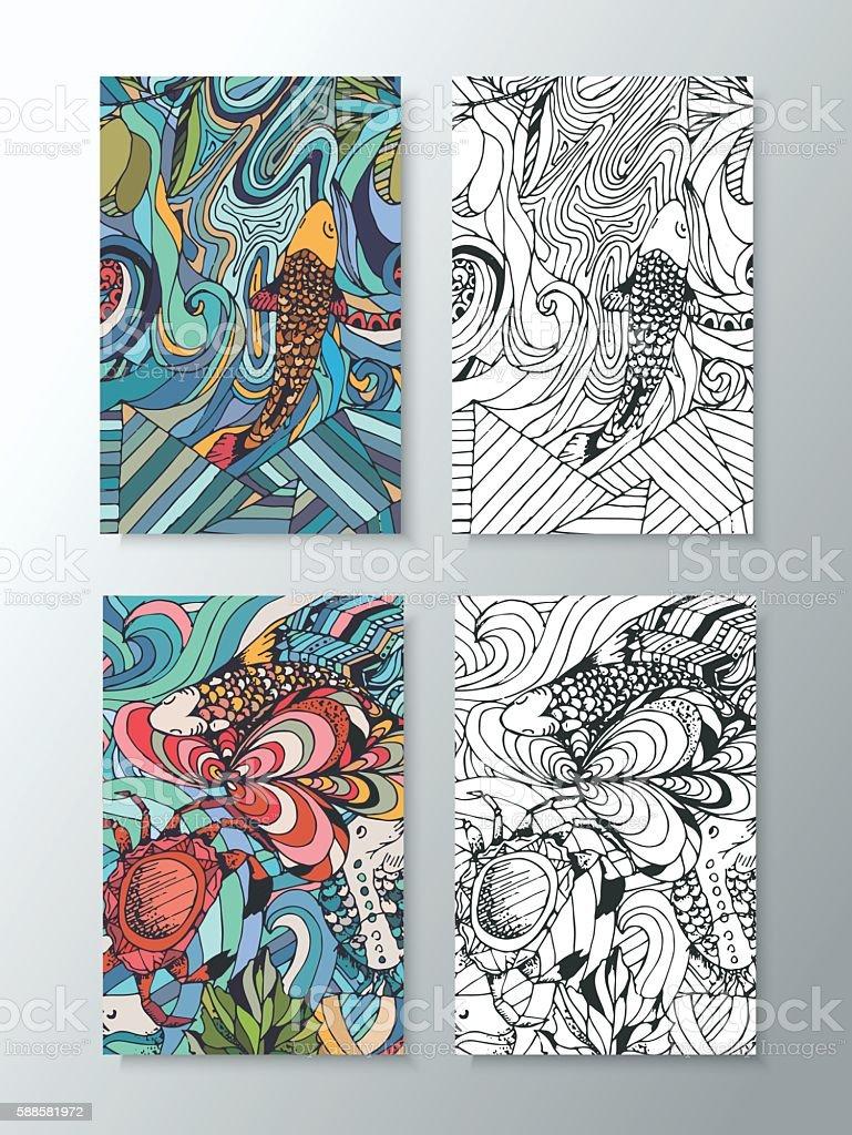 vivid illustration of marine animals vector art illustration