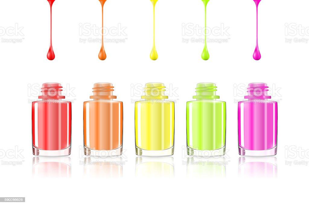 Vivid Rainbow nail polish bottles. Multicolored drips isolated. vector art illustration