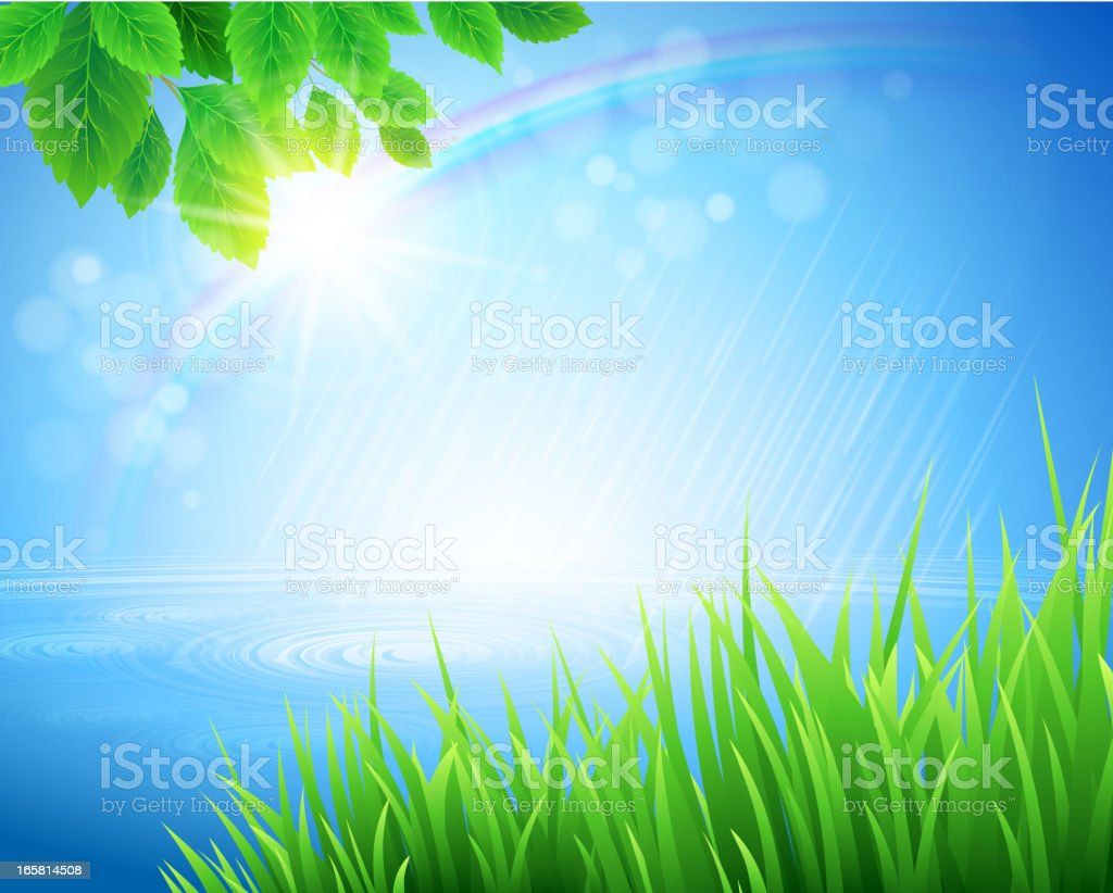 Vivid spring landscape with rainbow appearing in bokeh light royalty-free stock vector art