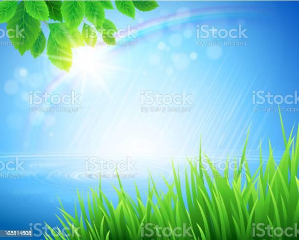 Vivid Spring Landscape With Rainbow Appearing In Bokeh Light Stockvectorkunst en meer beelden van Abstract