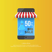 Colorful vector smartphone with striped tent showing big sale in 50% off on screen with mannequin dress on yellow background
