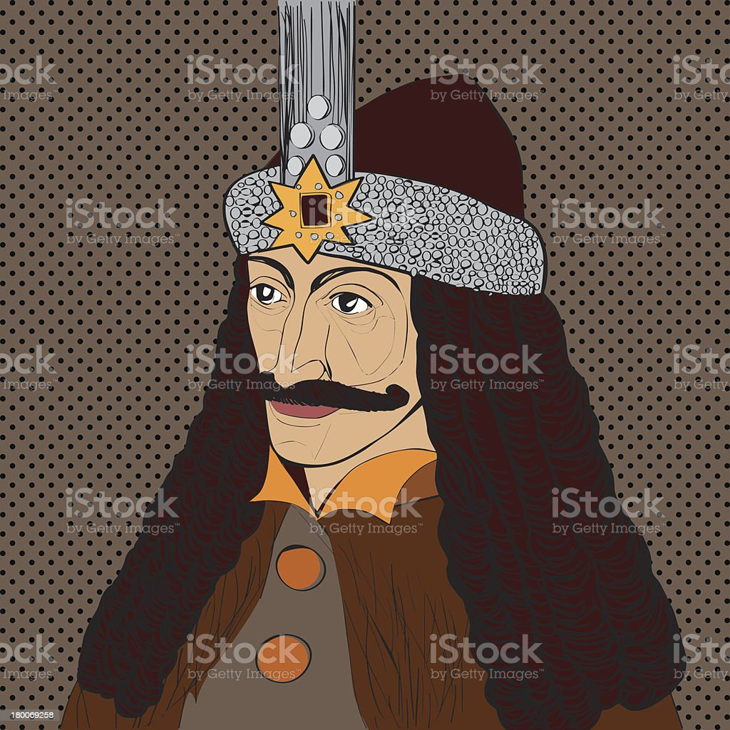 Vlad Tepes portrait vector art illustration