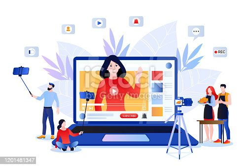 istock Vlog and video content creation for social networks. Vector illustration of lifestyle bloggers and influencers 1201481347