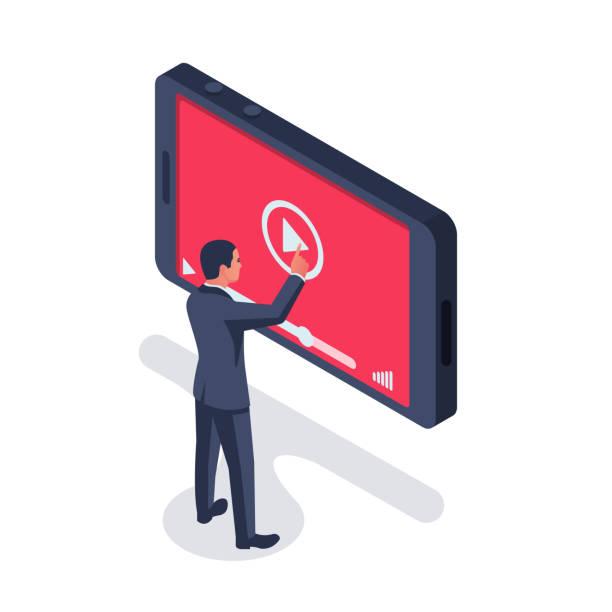 ilustraciones, imágenes clip art, dibujos animados e iconos de stock de concepto vlog. video blog. - training