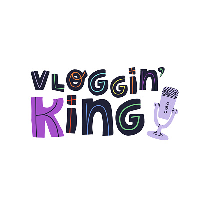 Vlogging king fun hand drawn lettering text and professional microphone for audio and video record. Flat vector isolated illustration for greeting card, banner, t-shirt print and other design.