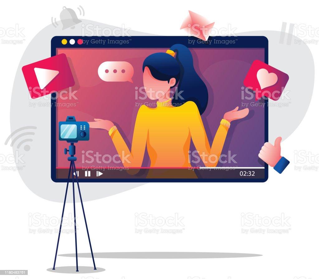 Illustration de femme de Vlogging - clipart vectoriel de A la mode libre de droits