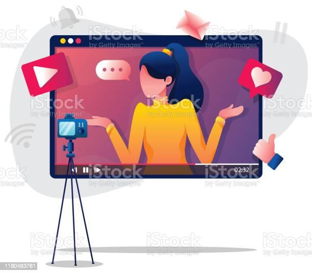 Illustration De Femme De Vlogging Vecteurs libres de droits et plus d'images vectorielles de A la mode