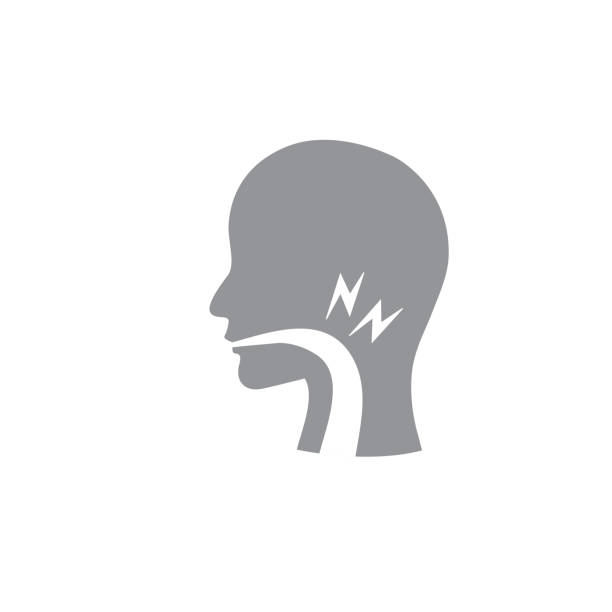 Vocal cord icon with person image vector illustration Voice emitting sound via voice chords with face throat stock illustrations