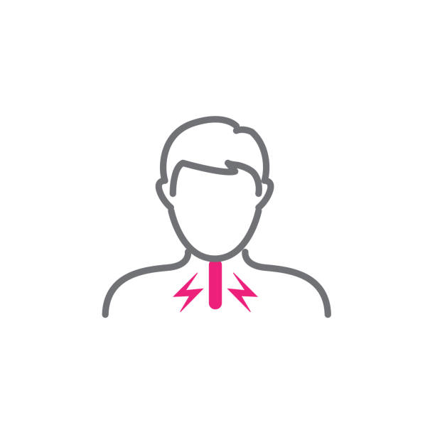 Vocal cord icon with person image vector illustration Voice emitting sound via voice chords with face sore throat stock illustrations