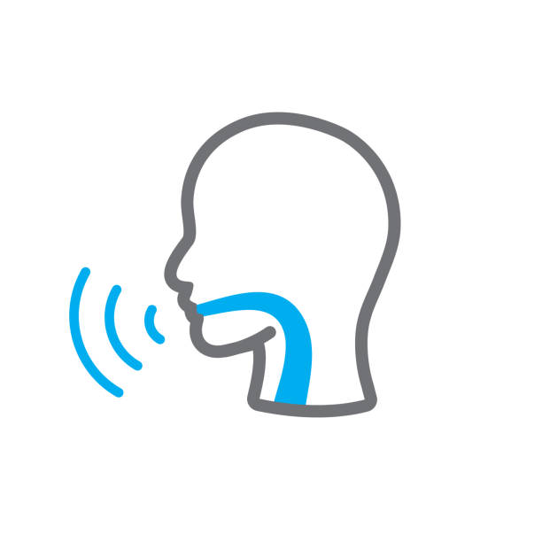 Vocal cord icon with person image vector illustration Voice emitting sound via voice chords with faceVoice emitting sound via voice chords with face sore throat stock illustrations