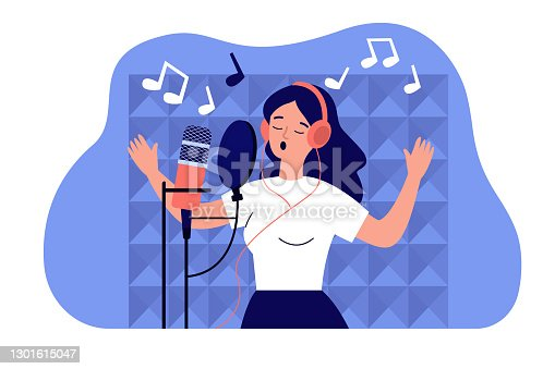 istock Vocalist girl in headphones singing at microphone 1301615047