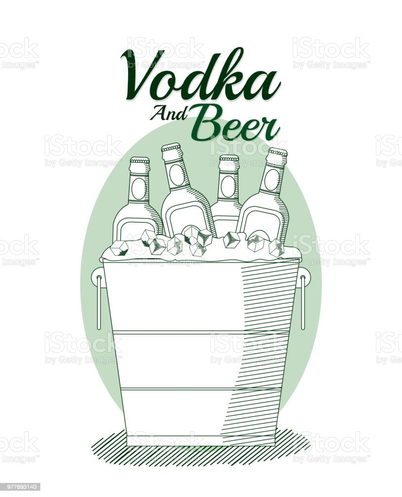 Vodka and beer concept vector art illustration