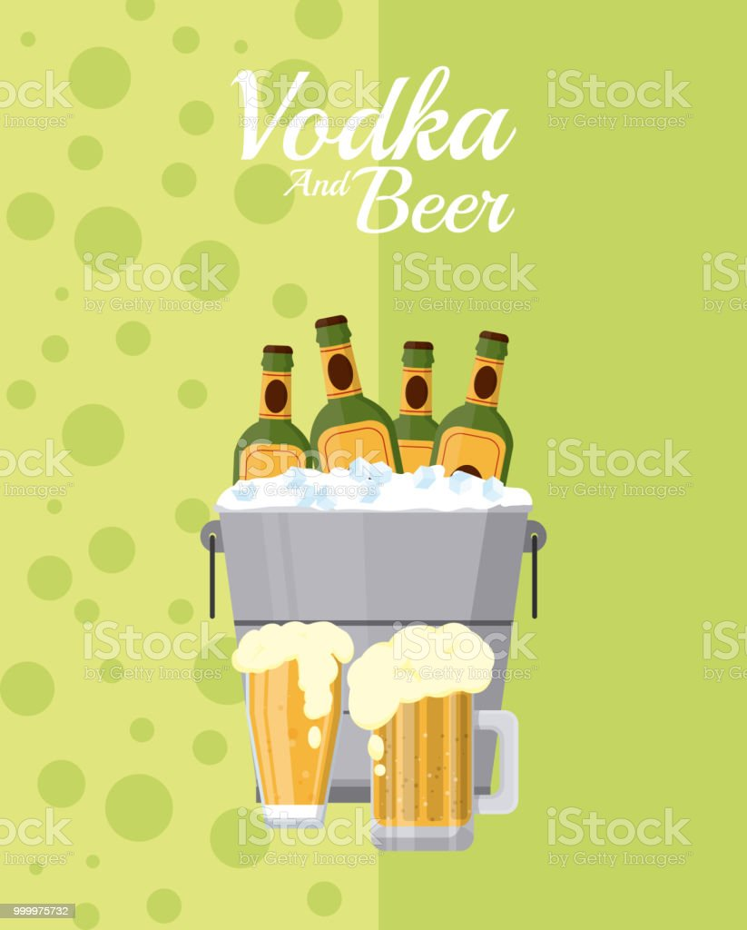 Vodka and beer vector art illustration