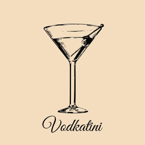 Vodkatini glass isolated. Hand drawn sketch of traditional cocktail with olive for restaurant, bar, cafe menu design. Vodkatini glass isolated. Hand drawn sketch of traditional cocktail with olive for restaurant, bar, cafe menu design martini glass stock illustrations