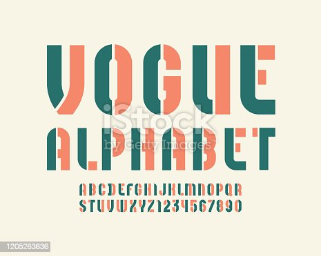 Vogue colored font, condensed bold stencil alphabet, modern letters and numbers, for your fashion design, vector illustration